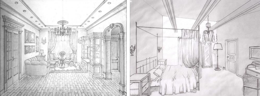 Дизайн интерьера Полное описание Результаты курса рисунок интерьера