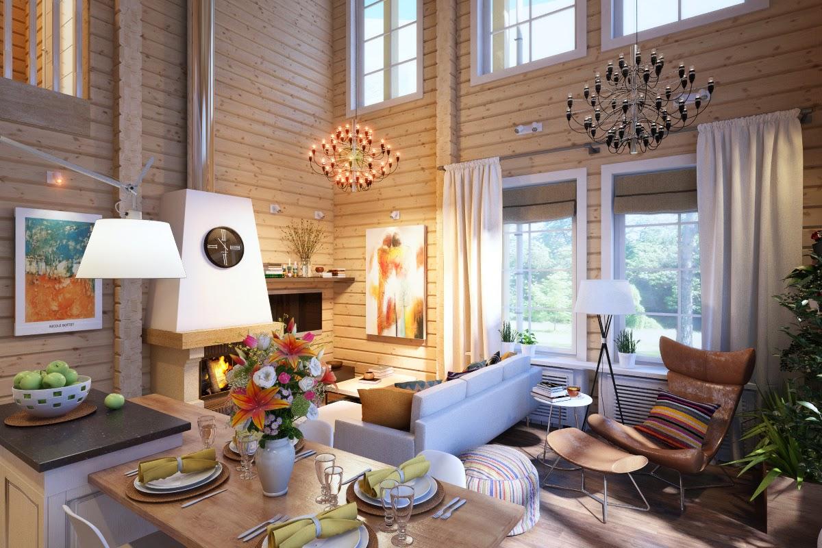Дизайн и визуализация дома из клееного бруса в Скандинавском стиле. Вид на гостиную